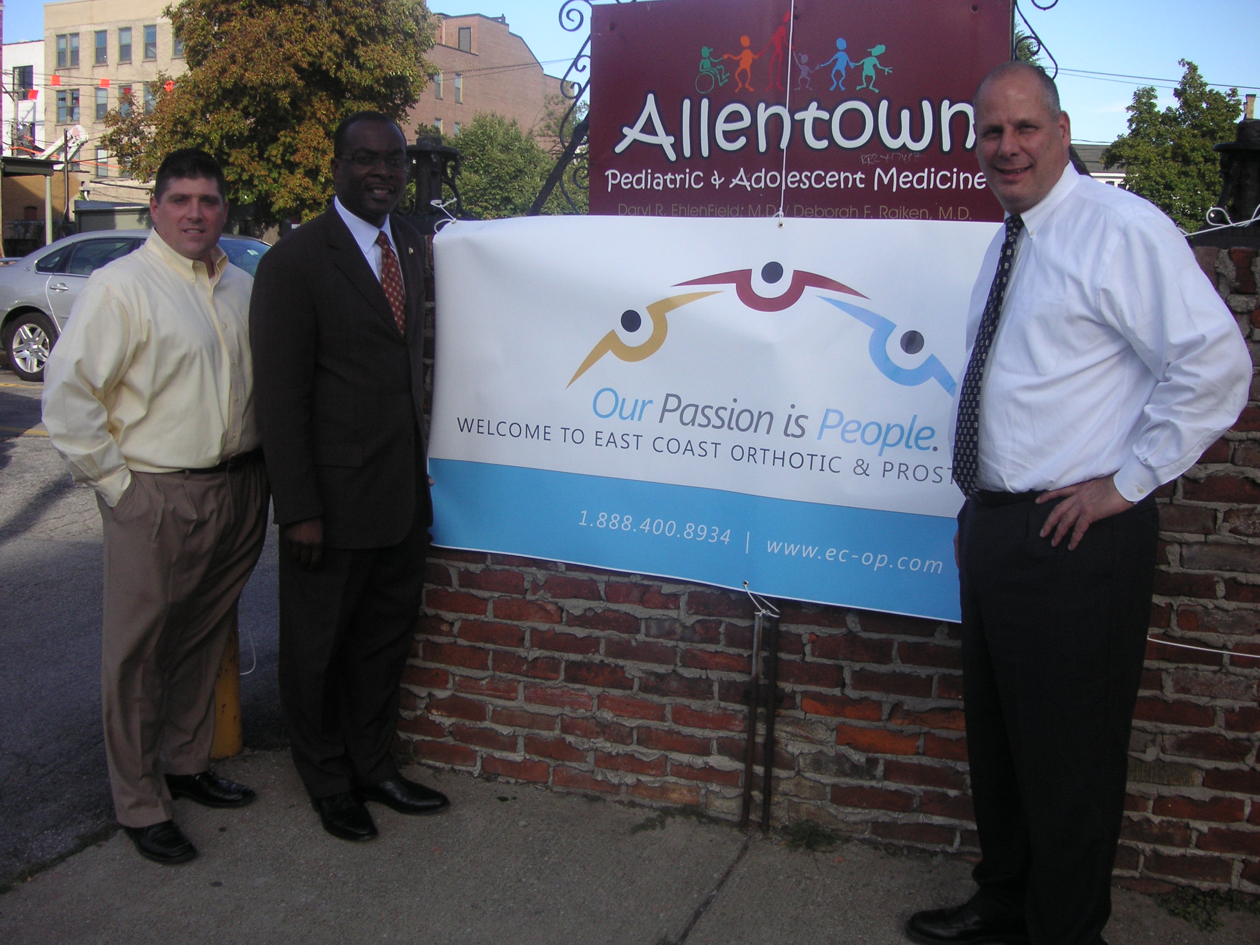 East Coast O & P Clinical Director, Christopher G. Berger, Mayor Byron Brown, East Coast O & P CEO Vincent A. Benenati, CO